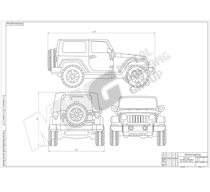 Чертеж автомобиля Jeep Wrangler Rubicon